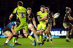 Laurence Pearce of Sale Sharks passes the ball - Mandatory byline: Patrick Khachfe/JMP - 07966 386802 - 03/02/2017 - RUGBY UNION - The Twickenham Stoop - London, England - Harlequins v Sale Sharks - Anglo-Welsh Cup.