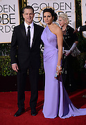 MAT DAMON + wife @ the 73rd Annual Golden Globe awards held @ the Beverly Hilton hotel.<br /> ©Exclusivepix Media