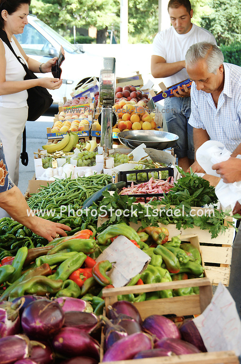 Food market at Palazzolo Acreide, on the Monti Iblei, Province of Syracuse, Sicily, Italy, July 2006