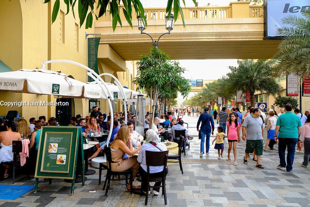 The Walk shopping and dining street at Jumeirah Beach Residences (JBR) in Dubai United Arab Emirates