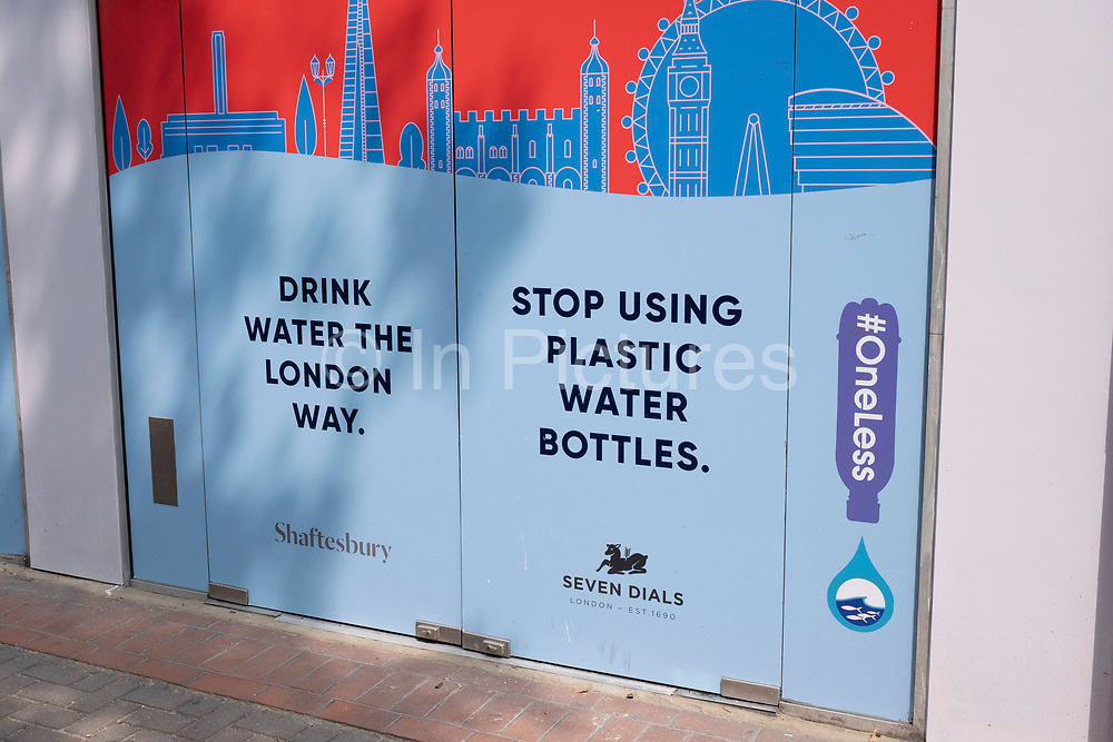 Stop using plastic water bottles on 13th August 2020 in London, United Kingdom. Single-use plastics, or disposable plastics, are used only once before they are thrown away or recycled. These items are things like soda and water bottles and most food packaging. The world produces hundreds of millions of tons of plastic every year, most of which cannot be recycled.