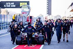 February 18, 2019 - Montmelo, BARCELONA, Spain - Aston Martin Red Bull Racing - Honda RB15 team at pitlane during the Formula 1 2019 Pre-Season Tests at Circuit de Barcelona - Catalunya in Montmelo, Spain on February 18. (Credit Image: © AFP7 via ZUMA Wire)