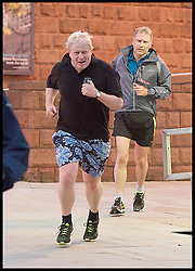 October 3, 2017 - Manchester, Manchester, United Kingdom - Image ©Licensed to i-Images Picture Agency. 03/10/2017. Manchester, United Kingdom. Conservative Party Conference- Day 3. The Foreign Secretary Boris Johnson going for his early morning run at the Conservative Party Conference in Manchester, on the day he makes his keynote speech. Picture by Elliott Franks / i-Images (Credit Image: © Elliott Franks/i-Images via ZUMA Press)