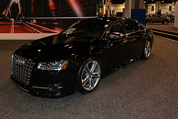 CHARLOTTE, NORTH CAROLINA - NOVEMBER 20, 2014: Audi S8 sedan on display during the 2014 Charlotte International Auto Show at the Charlotte Convention Center.