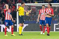 Referee shows red card to Atletico de Madrid Stefan Savic during UEFA Champions League match between FK Qarabag and Atletico de Madrid at Wanda Metropolitano in Madrid, Spain. October 31, 2017. (ALTERPHOTOS/Borja B.Hojas)