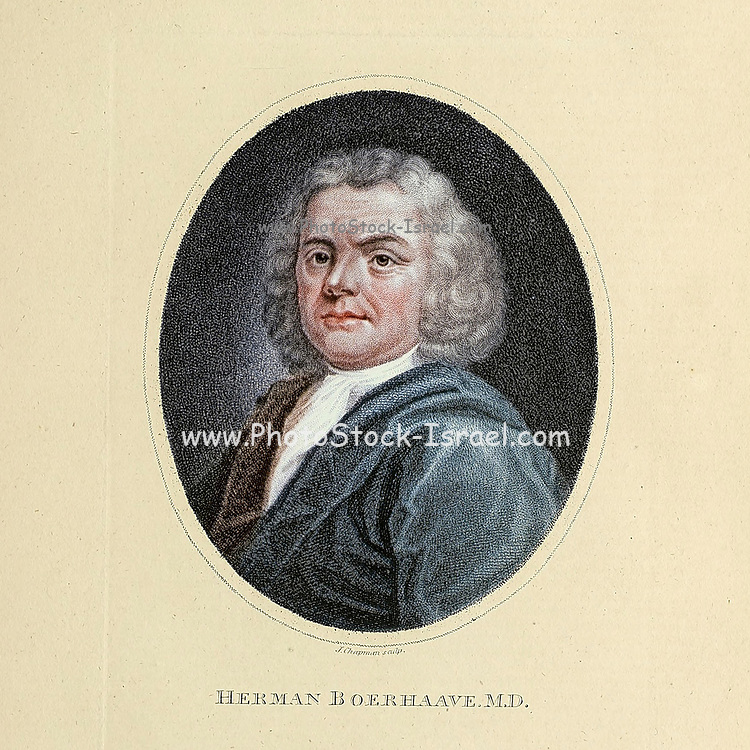 """Herman Boerhaave (31 December 1668 – 23 September 1738) was a Dutch botanist, chemist, Christian humanist, and physician of European fame. He is regarded as the founder of clinical teaching and of the modern academic hospital and is sometimes referred to as """"the father of physiology,"""" Boerhaave introduced the quantitative approach into medicine. Copperplate engraving From the Encyclopaedia Londinensis or, Universal dictionary of arts, sciences, and literature; Volume III;  Edited by Wilkes, John. Published in London in 1810"""