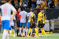 BERN, SWITZERLAND - SEPTEMBER 14: Aaron Wan-Bissaka of Manchester United is shown a red card by Referee François Letexier during the UEFA Champions League group F match between BSC Young Boys and Manchester United at Stadion Wankdorf on September 14, 2021 in Bern, Switzerland. (Photo by FreshFocus/MB Media)