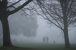 © Licensed to London News Pictures. 30/12/2016. Southsea, UK.  Dog walkers making their way through the thick fog on Southsea Common. People on the South Coast have woken up to foggy weather this morning, 30th December 2016. Photo credit: Rob Arnold/LNP