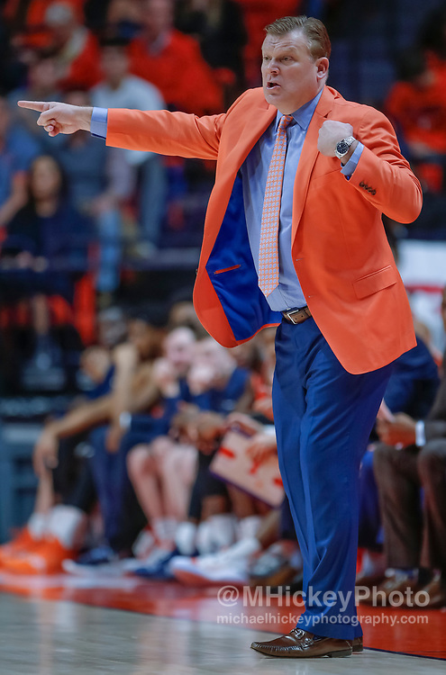 CHAMPAIGN, IL - FEBRUARY 05: Head coach Brad Underwood of the Illinois Fighting Illini is seen during the game against the Michigan State Spartans at State Farm Center on February 5, 2019 in Champaign, Illinois. (Photo by Michael Hickey/Getty Images) *** Local Caption *** Brad Underwood
