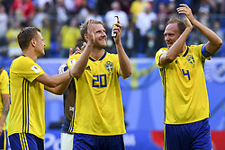 July 3, 2018 - Saint Petersburg, Russia - Viktor Claesson, Ola Toivonen and Andreas Granqvist of Sweden celebrate during the 2018 FIFA World Cup Round of 16 match between Sweden and Switzerland at Sankt Petersburg Stadium in Sankt Petersburg, Russia on July 3, 2018  (Credit Image: © Andrew Surma/NurPhoto via ZUMA Press)