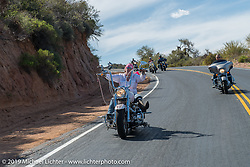Cat Hammes, the self-proclaimed One-Legged Blonde, on Diva Amy's Helping with Horsepower Ride during Arizona Bike Week. USA. Wednesday, April 3, 2014.  Photography ©2014 Michael Lichter.