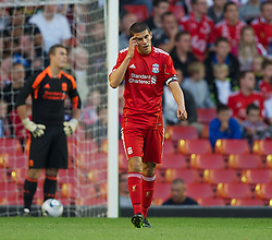 LIVERPOOL, ENGLAND - Wednesday, August 17, 2011: Liverpool's captain Conor Coady looks dejected as Sporting Clube de Portugal score the second goal during the first NextGen Series Group 2 match at Anfield. (Pic by David Rawcliffe/Propaganda)