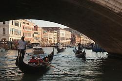 Europe, Italy, Venice, gondolas, speedobats and bridge on Grand Canal