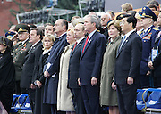 Moscow, Russia, 09/05/2005..Russian President Vladimir Putin and  President of the USA George Bush at the military parade in Red Sqaure marking the 60th anniversary of victory in the Great Patriotic War.