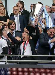 Peterborough United Manager, Darren Ferguson with the Johnstone's Paint Trophy - Photo mandatory by-line: Joe Dent/JMP - Mobile: 07966 386802 30/03/2014 - SPORT - FOOTBALL - London - Wembley Stadium - Chesterfield United v Peterborough United - Johnstone Paint Trophy Final