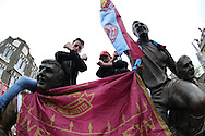 West ham fans chanting on the Bobby Moore Statue outside Boleyn Ground before k/o.scenes around the Boleyn Ground, Upton Park in East London as West Ham United play their last ever game at the famous ground before their move to the Olympic Stadium next season. Barclays Premier league match, West Ham Utd v Man Utd at the Boleyn Ground in London on Tuesday 10th May 2016.<br /> pic by John Patrick Fletcher, Andrew Orchard sports photography.