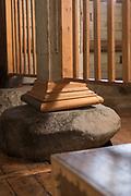 Close up of pillar on stone, Church of Santa Maria, Chiloe Island, Chile