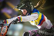 #103 (AZUERO GONZALEZ Domenica Michelle) ECU at the UCI BMX Supercross World Cup in Manchester, UK