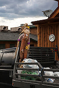 Scarecrow  in the back of a truck, in Gardiner, Montana, the north west gateway town to Yellowstone National Park.