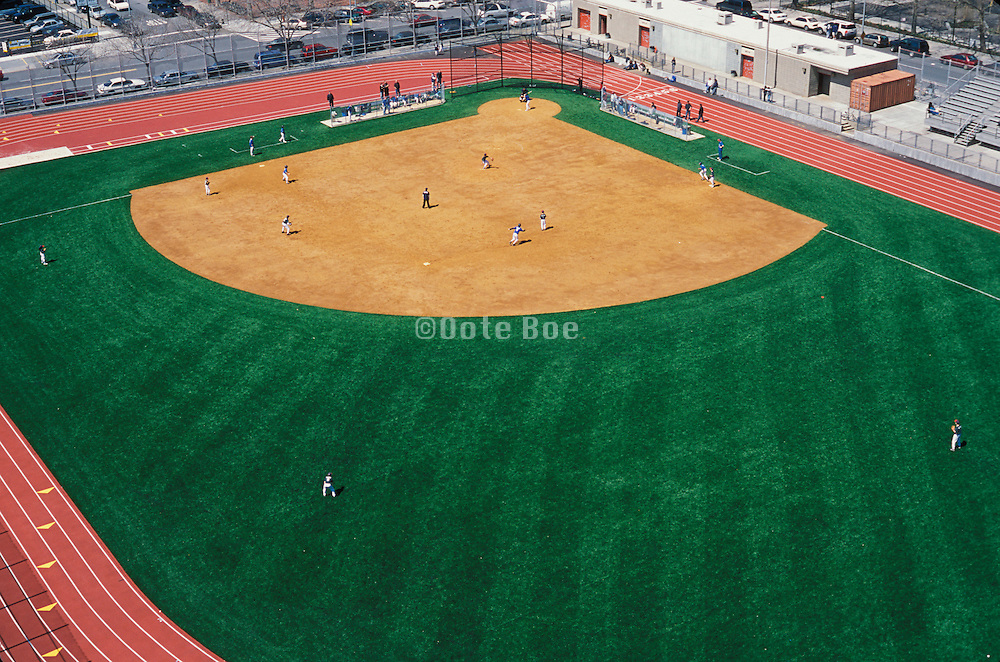 baseball field with players seen from above