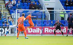Kilmarock's Josh Magennis scoring their first goal.<br /> Half time : St Johnstone 1 v 2 Kilmarock, SPL game played at McDrarmid Park.