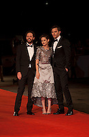 Director Drake Doremus, Actress Kristen Stewart and Actor Nicholas Hoult at the gala screening for the film Equals at the 72nd Venice Film Festival, Saturday September 5th 2015, Venice Lido, Italy.