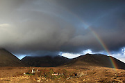 Rainbow just before sunset at the Sligachan Hotel in Skye, Scotland