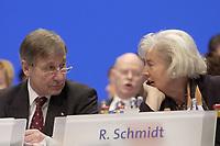 18 NOV 2003, BOCHUM/GERMANY:<br /> Wolfgang Clement (L), SPD, Bundeswirtschaftsminister, und  Renate Schmidt (R), SPD, Bundesfamilienministerin, im Gespraech, SPD Bundesparteitag, Ruhr-Congress-Zentrum<br /> IMAGE: 20031118-01-009<br /> KEYWORDS: Parteitag, party congress, SPD-Bundesparteitag, Gespräch
