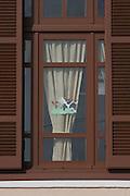 Greece, Macedonia, Naousa, decorated window