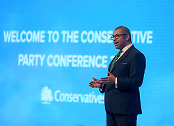 Conservative Party Chairman James Cleverly opened the Conservative Party conference in Manchester.<br /> <br /> © Dave Johnston / EEm