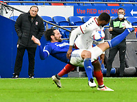 Football - 2020 / 2021 Sky Bet Championship - Cardiff City vs Middlesbrough - Cardiff City Stadium<br /> <br /> Middlesborough manager Neil Warnock on his return to Cardiff City on the touchline watches as Sean Morrison of Cardiff City collides with Britt Assombalonga of Middlesbrough<br /> in a match played without fans<br /> <br /> COLORSPORT