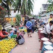 A wide shot of the morning market in Luang Prabang, Laos.