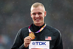 USA's Sam Kendricks with his Men's Pole Vault Gold medal during day six of the 2017 IAAF World Championships at the London Stadium. PRESS ASSOCIATION Photo. Picture date: Wednesday August 9, 2017. See PA story ATHLETICS World. Photo credit should read: Martin Rickett/PA Wire. RESTRICTIONS: Editorial use only. No transmission of sound or moving images and no video simulation