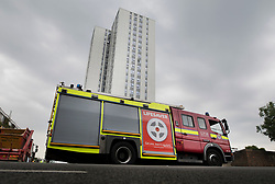 © Licensed to London News Pictures. 27/06/2017. London, UK. A fire engine is parked outside Bray tower block on the Chalcots Estate in Camden after a smell of gas was reported. More than 700 flats in tower blocks on an estate in the Swiss Cottage area of north-west London are being evacuated because of fire safety concerns after the Grenfell Tower fire of on June 14. Photo credit: Peter Macdiarmid/LNP