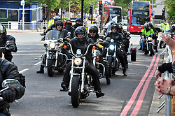 © Licensed to London News Pictures. 22/05/2017<br /> Flags are back up in Woolwich for Lee Rigby.<br /> The Lee Rigby memorial motorbike ride took place this morning on the fourth anniversary of his death. Large numbers of bikers past the Lee Rigby memorial on Wellington Street near Woolwich Barracks, Woolwich,  which only days ago was attacked and damaged by vandals.<br /> Photo credit :Grant Falvey/LNP