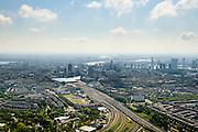 Nederland, Zuid-Holland, Rotterdam, 10-06-2015; Centrum Rotterdam met Rotterdam CS gezien vanaf de Blijdorpse Polder.<br /> Rotterdam city centre with skyline.<br /> luchtfoto (toeslag op standard tarieven);<br /> aerial photo (additional fee required);<br /> copyright foto/photo Siebe Swart