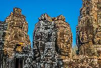 giant faces prasat bayon temple Angkor Thom Cambodia