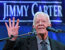 Former President Jimmy Carter, 93, answers questions from students during his annual town hall with Emory University freshman in the campus gym on Wednesday, September 12, 2018, in Atlanta, GA, USA. Photo by Curtis Compton/Atlanta Journal-Constitution/TNS/ABACAPRESS.COM