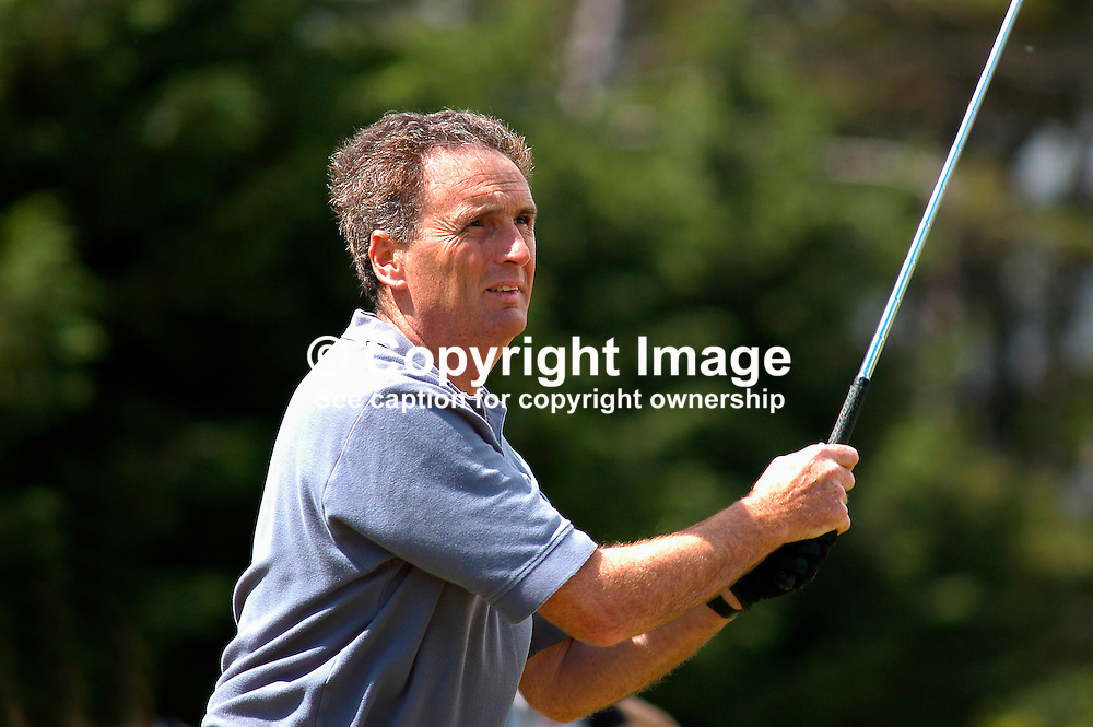 James Nicholson, James Nicholson & Company, wine merchants, Crossgar, Co Down, N Ireland, playing a tee shot. Ref: 200207230127. ProAm, British Seniors Golf Championship, Royal County Down, N Ireland.<br /> <br /> Copyright Image from Victor Patterson, Belfast, UK<br /> <br /> t: +44 28 9066 1296 (from Rep of Ireland 048 9066 1296)<br /> m: +44 7802 353836<br /> e: victorpattersonbelfast@gmail.com<br /> <br /> www.images4media.com<br /> <br /> Please see my full Terms and Conditions of Use at https://www.images4media.com/p/terms-conditions - it is IMPORTANT that you familiarise yourself with them.<br /> <br /> Images used online incur an additional cost. This cost should be agreed in writing in advance. Online images must be visibly watermarked i.e. © Victor Patterson or that of the named photographer within the body of the image. The original metadata must not be deleted from images used online.<br /> <br /> This image is only available for the use of the download recipient i.e. television station, newspaper, magazine, book publisher, etc, and must not be passed on to a third party. It is also downloaded on condition that each and every usage is notified within 7 days to victorpattersonbelfast@gmail.com.<br /> <br /> The right of Victor Patterson (or the named photographer) to be identified as the author is asserted in accordance with The Copyright Designs And Patents Act (1988). All moral rights are asserted.