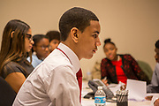 Purchase, NY – 31 October 2014. Early College High School student Daniel Meed with his team. The Business Skills Olympics was founded by the African American Men of Westchester, is sponsored and facilitated by Morgan Stanley, and is open to high school teams in Westchester County.