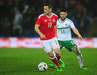Wales' Andrew Crofts under pressure from Northern Ireland's Oliver Norwood<br /> <br /> Photographer Kevin Barnes/CameraSport<br /> <br /> Football - International Friendly - Wales v Northern Ireland - Thursday 24th March 2016  - Cardiff City Stadium - Cardiff<br /> <br /> © CameraSport - 43 Linden Ave. Countesthorpe. Leicester. England. LE8 5PG - Tel: +44 (0) 116 277 4147 - admin@camerasport.com - www.camerasport.com