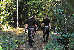© Licensed to London News Pictures. 19/10/2018<br /> New Ash Green, UK. Police search woodland near the home of missing mother Sarah Wellgreen in New Ash Green, Kent. The mother of five from has not been seen since the evening of Tuesday October 9th. A man in his 30s who was arrested on Tuesday in connection with the disappearance has been bailed by police. Photo credit: Grant Falvey/LNP