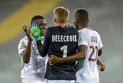 August 28, 2018 - Lens, France - Joie des joueurs de l equipe Metz - Paul Delecroix ( Metz ) - Mamadou Fofana ( Metz )  - Habib Diallo  (Credit Image: © Panoramic via ZUMA Press)