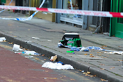 © Licensed to London News Pictures. 30/10/2020. London, UK. A medical kit at a crime scene on West Green Road in Tottenham, north London, following the stabbing of a man in his 20s. Photo credit: Dinendra Haria/LNP