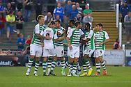 Edward Upson celebrates Yeovil Town's first goal during the Capital One Cup match, 2nd round, Yeovil Town v Birmingham City at Huish Park in Yeovil on Tuesday 27th August 2013. pic by Sophie Elbourn, Andrew Orchard sports photography,