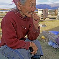 MONGOLIA, Darhad Valley.  Luvsandorj (84), matriach of an extended herding family.