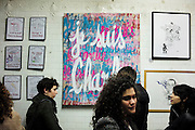 """Various artists exhibited, in response to the Charlie Hebdo massacre: Artists defending freedom of expression and fighting against hatred mount an exhibition at """"Charlie Hexpo"""", Galerie 28 bis bld Bonne Nouvelle, Paris, France.<br /><br />This was a fundraising event for families of the twelve staff killed by jihadists at Charlie Hebdo, this included the editor and celebrated cartoonists, January 2015. The deadliest month of terror attacks in France for over fifty years. Charlie Hebdo is a satirical publication well known for its political cartoons. <br /><br />As a solidarity actions with the deaths at Charlie Hebdo some paintings read """"Je suis Charlie"""" translating as """"I am Charlie (Hebdo)"""". Other artists evoke feelings of the Muslim community 'Je suis Habibi"""". The arab word habibi refers to a friend, partner or relative"""
