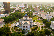 Aerial drone photo of the State House and Skyline in Columbia, SC, by photographer Jeff Blake, www.JeffBlakePhoto.com