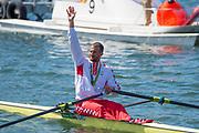 "Rio de Janeiro. BRAZIL   CRO M1X Silver Medalist. Damir MARTIN.     2016 Olympic Rowing Regatta. Lagoa Stadium,<br /> Copacabana,  ""Olympic Summer Games""<br /> Rodrigo de Freitas Lagoon, Lagoa. Local Time 11:34:03  Saturday  13/08/2016<br /> [Mandatory Credit; Peter SPURRIER/Intersport Images]"