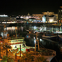 Africa, South Africa, Cape Town. Victoria & Alfred Waterfront at night.